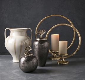 """Every home needs a little Luxe! These accessories will bring a dazzling and coordinated splash of luxury into your life. Highlighted by a graceful gingko leaf motif, saturated with gold and accented with soft pewter gray and creamy white, the Luxe collection is poised to please. """