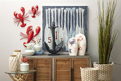 An iconic lobster motif stars in this refreshing casual coastal collection. Rich red and blue tones are anchored by weathered white finishes.