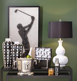 Inspired by the rich heritage of American golf, the line combines great design with the iconic PGA TOUR brand to create a collection that pays homage to the beloved sport in high style. Accent furniture, wall décor, lighting and accessories reflect elements of the game as well as the culture surrounding it to create a look that's as distinctive as it is comfortable.