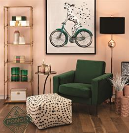 Youthful and exuberant, Pongo is a fashion-forward style story with a bold palette interplay of blush and green, patterns and polka dots, metallic finishes and pops of gold. Cosmopolitan and oh-so-chic, Pongo is your go-to for shiny-happy style.