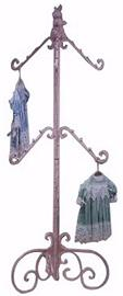"#130B Double Clothing Rack - 6 arms, with Bunny Finial - 70"" H X 29"" Dia."