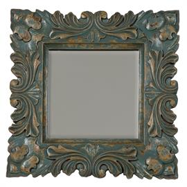 107516cc Crossroads Cyan finish on ornately hand-carved wooden baroque square clear mirror. H: 26 W: 26 D: 1.5