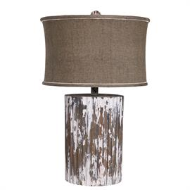 350040 Ridged wood cylinder shaped lamp. Linen bell shaped shade with self trim and accented with white piping. Wood ball finial. H: 29.25 W: 17 D: 17 Shade 17 X 17 X 10.5 150 W 3-Way