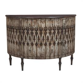 643505 Antique Taupe with heavy distress finish on hand carved reclaimed wood applique. Heritage Grey Stain finish on sideboard top and bun feet. Antiqued hardware. H: 40 W: 55 D: 22.25