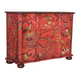 643559 Hand painted floral and tropical art over red finished on hand carved mahogany chest. Deep Forest Stain finish on chest top and bun feet. Antiqued hardware. H: 46 W: 66 D: 21.5