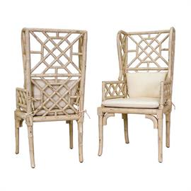657530pcr Crossroads Rosa finish on handcarved wooden bamboo design chair. Muslin fabric on cushion and pillow. Pair. H: 47 W: 24 D: 25