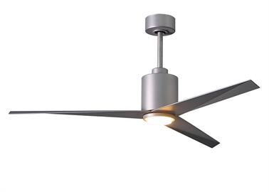 "Designed by Chicago architect Stephen Katz in 2016, the Eliza-LK blends a beautiful technically derived form with superior function and movement. The unique blade shape is designed to maximize air movement at the outer edge of the blade. The result is more efficient air velocity rings, less blade drag and greater motor optimization. Equally important is the Eliza-LK fan's stationary visual statement which combines modern utility with minimalist geometry.  •56"" diameter. •Energy efficient, ultra-quiet, six"