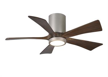 Cutting a figure like no other, the Irene-5HLK rodless-style fan is rustic yet strikingly modern with neatly joined solid walnut-stained blades.  A cylindrical motor housing complements its minimal profile.  The Irene line of fans are streamline while appearing warm and natural and now come with a light kit.