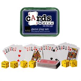 "Play classic games, old family favorites, and learn new games – anywhere you are! This set of mini playing cards and six soft-rolling foam dice is perfect for restaurants, waiting rooms, and anywhere kids (and their adults) need a little quiet entertainment. Foam dice mean less noise while kids practice taking turns, counting, and strategy! Includes: Travel tin (4 1/4"" x 3 1/8"" x 1""), mini playing cards (2.5""), 6 1"" foam dice, game instructions. Ages 3+.  Small Parts."