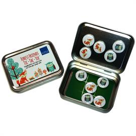 "Play tic-tac-toe while you're on the go with these cute, portable magnetic play sets. Game pieces (owls vs. foxes) are 1"" in diameter, with strong ceramic magnets. Tic-tac-toe, a classic game, teaches kids matching, strategy, and turn taking. All pieces fit inside the tin for easy storage & portability in a pocket or purse — play anywhere! Includes: Travel tin (4 1/4"" x 3 1/8"" x 1""), 10 magnetic tic-tac-toe pieces. Ages 3+. Small Parts."