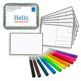 "Kids love writing tiny notes! We created this ""Hello On-the-Go"" correspondence kit to contain everything you need to pretend to send mini postcards. Color or draw on one side of the mini postcards, and practice writing on the other - half the postcards are pre-drawn, and half are design-your-own! Please note: not intended to use at the actual post office. Includes: Travel tin (4 1/4"" x 3 1/8"" x 1""), mini markers, 20 mini color-in and create-your-own postcards. Ages 5+. Small Parts."
