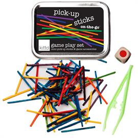 "A classic game, mini sized for on the go play! Colorful mini pick up sticks (2"" long), colored dice, plastic tweezers for little hands, and game instructions with easy adaptations for younger players. Kids won't realize it, but they're learning color matching, developing fine motor skills, and practicing taking turns! Includes: Travel tin (4 1/4"" x 3 1/8"" x 1""), mini pick-up sticks, color 1 color-choosing dice, and kid-safe tweezers (colors will vary) . Ages 5+.  Small Parts."