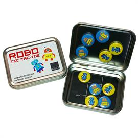 "Play tic-tac-toe while you're on the go with these cute, portable magnetic play sets. Game pieces (blue robots vs. yellow robots) are 1"" in diameter, with strong ceramic magnets. Tic-tac-toe, a classic game, teaches kids matching, strategy, and turn taking. All pieces fit inside the tin for easy storage & portability in a pocket or purse — play anywhere! Includes: Travel tin (4 1/4"" x 3 1/8"" x 1""), 10 magnetic tic-tac-toe pieces. Ages 3+. Small Parts."