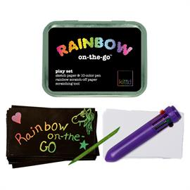 "What's better than a rainbow? A double rainbow, of course! Double your rainbow fun with two ROYGBIV art options: scratch off the black paper to reveal rainbow designs, and use the 10-color pen to create your own rainbows on the blank paper. Practice writing and coloring while bringing smiles with your notes! Includes: Travel tin (4 1/4"" x 3 1/8"" x 1""), sketch paper, 10-color pen (pen casing colors will vary), rainbow scratch-off paper & scratching tool  (colors will vary). Ages 5+. Small Parts."
