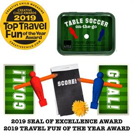 "GOOAAALLL! Table Soccer On-the-Go brings our favorite arcade game anywhere you are! Pencils become the players' arms and keep score, and goals can be placed closer or farther away to change the difficulty. Practice turn taking, fine motor movement and control, and score keeping, while having fun on the go! Includes: Travel tin (4 1/4"" x 3 1/8"" x 1""), 2 soccer players, 2 pencils, 1 slow-rolling ball (colors will vary), 2 laminated goals, 1 score book, and 1 pencil sharpener. Ages 5+. Small Parts."