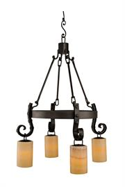 "Antibes Chandelier with Hanging Amber Onyx Shades. 41"" Tall x 28 1/2"" Diameter."