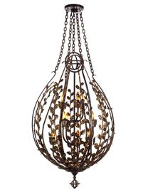"The First Santangelo fixture Designed by New York Lighting Designer David Landis. Each Leaf is hand made and shaped for individuality. Dark Bronze finish with Gold Leaf overlay; 60"" tall x 29"" wide; 9 Lights; 60 Watts Max"