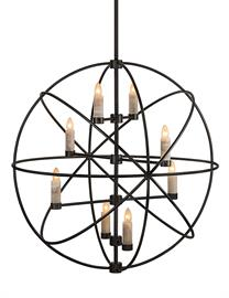 "This 40"" Orb Chandelier with white onyx socket covers shows Santangelo can and will do contemporary when the job arises."