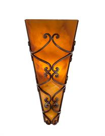 "Paramount Sconce - 17"" Tall x 8 1/2"" wide x 5 1/2"" Deep - Hand Forged Sconce with Hand Carved Onyx Shade shown here with Amber Onyx. 2 Lights, 60 and 25 Watts MAX, standard base torpedo bulb required."