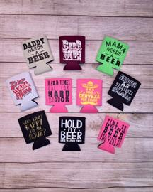 We offer many koozie prints that are fun and sassy.  We also welcome custom orders.