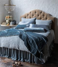 Lovely Vienna Royal Shams and Duvet Cover topped off with Carmen Lumbar Pillows and Personal Comforter, all in Mineral