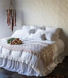 This all White Persephone ensemble, with delicate Olivia Bed Throw in Rosegold on the end, has us swooning