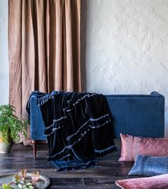 Our Loulah Wedding Blanket drapes elegantly in rich Midnight