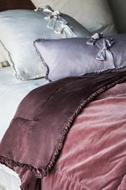 Our Helane Personal Comforter is backed in silky Satin and edged with a petite ruffle