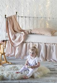 Pearl Baby Bedding, featuring Adele Baby Blanket, Carmen Kidney Pillow, Madera Luxe Crib Sheet, Linen Crib Skirt