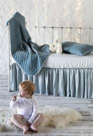 All in Cloud: Silk Velvet Quilted Baby Blanket, Silk Velvet Quilted Kidney Pillow, Madera Luxe Crib Sheet, Satin Crib Skirt