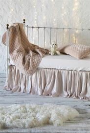 Our Baby Bedding, all in Pearl: Silk Velvet Quilted Baby Blanket, Silk Velvet Quilted Kidney Pillow, Madera Luxe Crib Sheet, Satin Crib Skirt