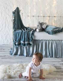 All in Cloud: Loulah Baby Blanket, Loulah Kidney Pillow, Linen Crib Sheet, Satin Crib Skirt