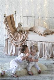 Pearl Baby Bedding, featuring  Loulah Baby Blanket, Loulah Kidney Pillow, Linen Crib Sheet, Satin Crib Skirt