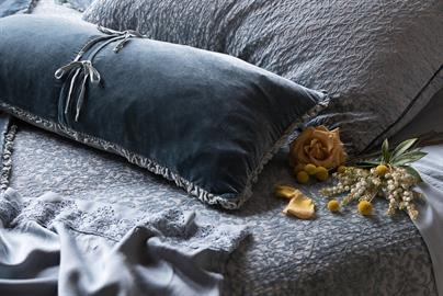 Delicate Charmeuse ties close our Carmen Lumbar Pillow