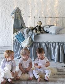 All in Cloud: Sophia Baby Comforter, Helane Kidney Pillow, Linen Crib Sheet, Helane Crib Skirt