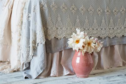 Layers of linen and intricate lace.
