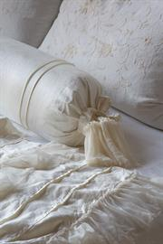 Valentina Bolster with delicate pin-tucking and silk gauze ruffle.