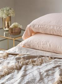 Our classic Linen Pillowcases in Pearl, with a hint of Valentina.