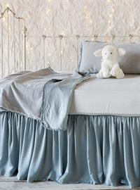 Satin and Velvet Baby Bedding in Cloud.