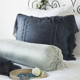 Our new Paloma Bolster in Mineral, accompanied by the stunning Valentina Sham in Midnight.