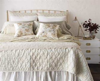 Our Luna Coverlet and Royal Shams in Parchment, with layers of Rosalina Neutral and our new Paloma Pillowcases in Fog.