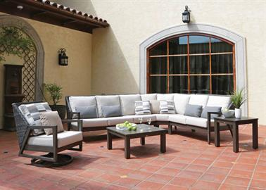 Handcrafted with precision artistry, the Cape Town collection features modern appeal and provides ultimate comfort. This luxurious deep-seated collection highlights a charming blend of premium grade weather-resistant Stone Grey resin and a powder-coated aluminum frame with a rich hue of Ash Grey finish. The extruded aluminum tapered legs, impeccably slanted woven back and flawlessly polished armrests bring a distinct look to any outdoor space.