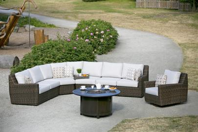 Casa Camino is scrupulously designed and finely crafted to stand the trial of time.  Simple, yet, comfortably pitched backs with full scale deep seat outdoor reticulated cushions encourage hours of total relaxation.  Rich, amber brown resilient resins are smoothly hand-woven, over fully concealed, powder-coated aluminum frames.   Available in living, sectional and dining pieces to create the outdoor atmosphere that one has been longing for. Various options on coffee and end tables for Casa Camino – Woven