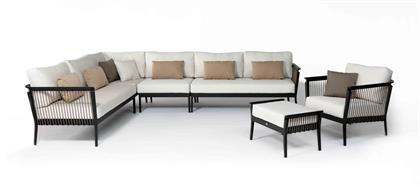 The Copacabana collection features a clean, open, contemporary design and modular configuration. With premium tailored deep cushioning, this contract-graded series is extremely durable and weather-resistant, offering many seasons of enjoyment. A classic black powder-coated aluminum frame is complemented by a brown braided-polypropylene rope.