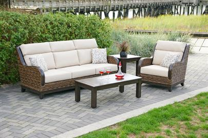 Sculpted with exacting precision from durable power-coated aluminum frame, Kingston is meticulously designed to bring style and comfort to any outdoor areas.  Kingston features the natural appeal of seagrass look with premium quality resin braided to resemble the natural touch of wicker weave in bronze, brownish hue, and yet, durable to withstand the harsh outdoor weather.  Generously deep seats, paired impeccably with highly polished hand-brush finishing on aluminum armrest, sturdy chassis base frame and