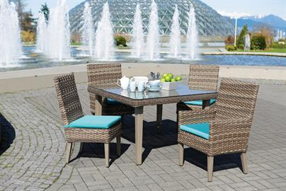 Nottingham's neat, contemporary style, cushioned comfort dining set creates the perfect inviting atmosphere for your outdoor dining experiences. The dining arm/side chairs and tables with adjustable legs, are expertly crafted with the quality, weather-resistant wicker over the heavy gauge aluminum frames.  Chairs feature with tapered, highly polished aluminum legs, can be paired impeccably with its matching square or rectangular dining tables with tempered glass top.