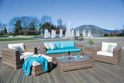 Featuring bold, sophisticated design with spacious plush seating and armrests, Nottingham creates the richest, stunningly modern look that one would admire for years in any open air environment.  Nottingham newly introduces more multiplicities in addition to its modular cousins – including the 2.5 seat sofa, side table and dining side and arm chairs – all meticulously hand woven with the premium, taupe-colored wicker over commercially structured aluminum frames.