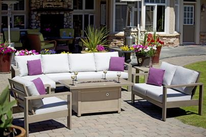 This sleek, uniquely shaped, slanted high back masterpiece, gives a striking contemporary flair with an upscale appeal.  Featured with rustproof extruded aluminum frame and brushed scratch resistance finish in sophisticated Taupe color, and coupled with deep plush cushions and extra back frame support, Park Lane offers extraordinary comfort that set the ultimate relaxing tone for friends and families.  Park Lane is available in the living room, dining room and sectional pieces to cater your desired outdoo