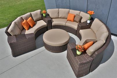Set the stage for summer entertaining.  Portfino collection offers thick durable weave in a warm earth tone color.  The sectional set captures the organic beauty of wicker weaving. Weatherproof and maintenance-free, so you can leave it outdoors all year round.  Plus, the versatile living set allows you to create the ideal spotlight for entertaining and relaxing.  Portfino comes with a range of modular and matching dining pieces, it can surely transform your backyard or patio into your favorite gathering p