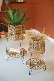 Set of two seagrass and iron plant stands